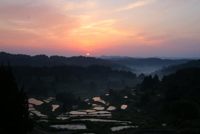 朝日と棚田